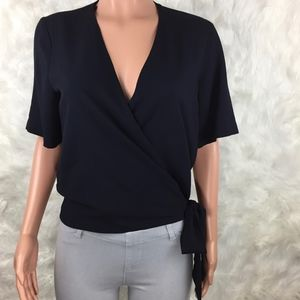 Zara | Navy Wrap Front Top with Side Tie Small